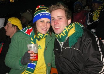 Watching a game at Soccer City - coldest night EVER!!