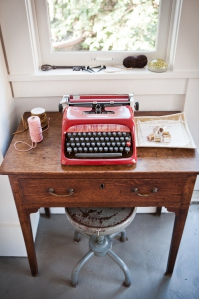 Perfect desk with a view and an old red typewriter #memories