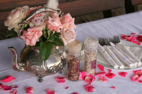 Love the silver teapot as a vase & the rose salt & pepper was delicious!